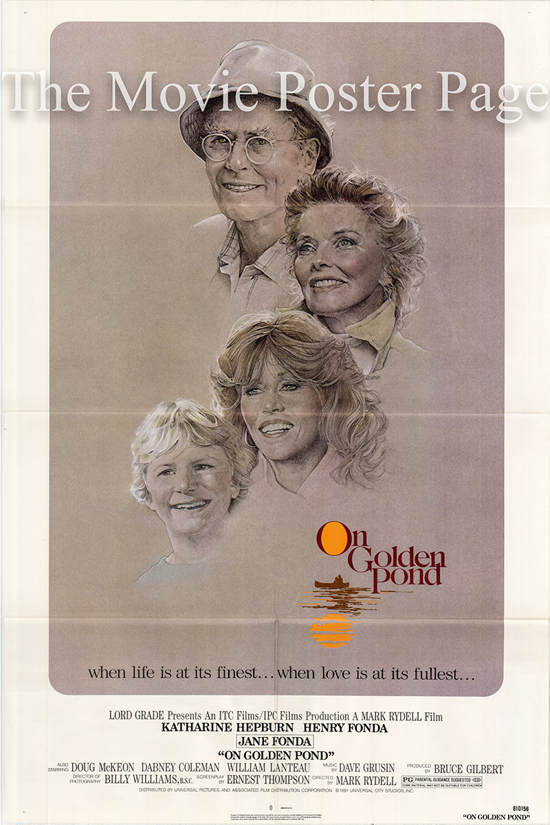 Pictured is a US one-sheet poster for the 1981 Mark Rydell film On Golden Pond starring Henry Fonda.