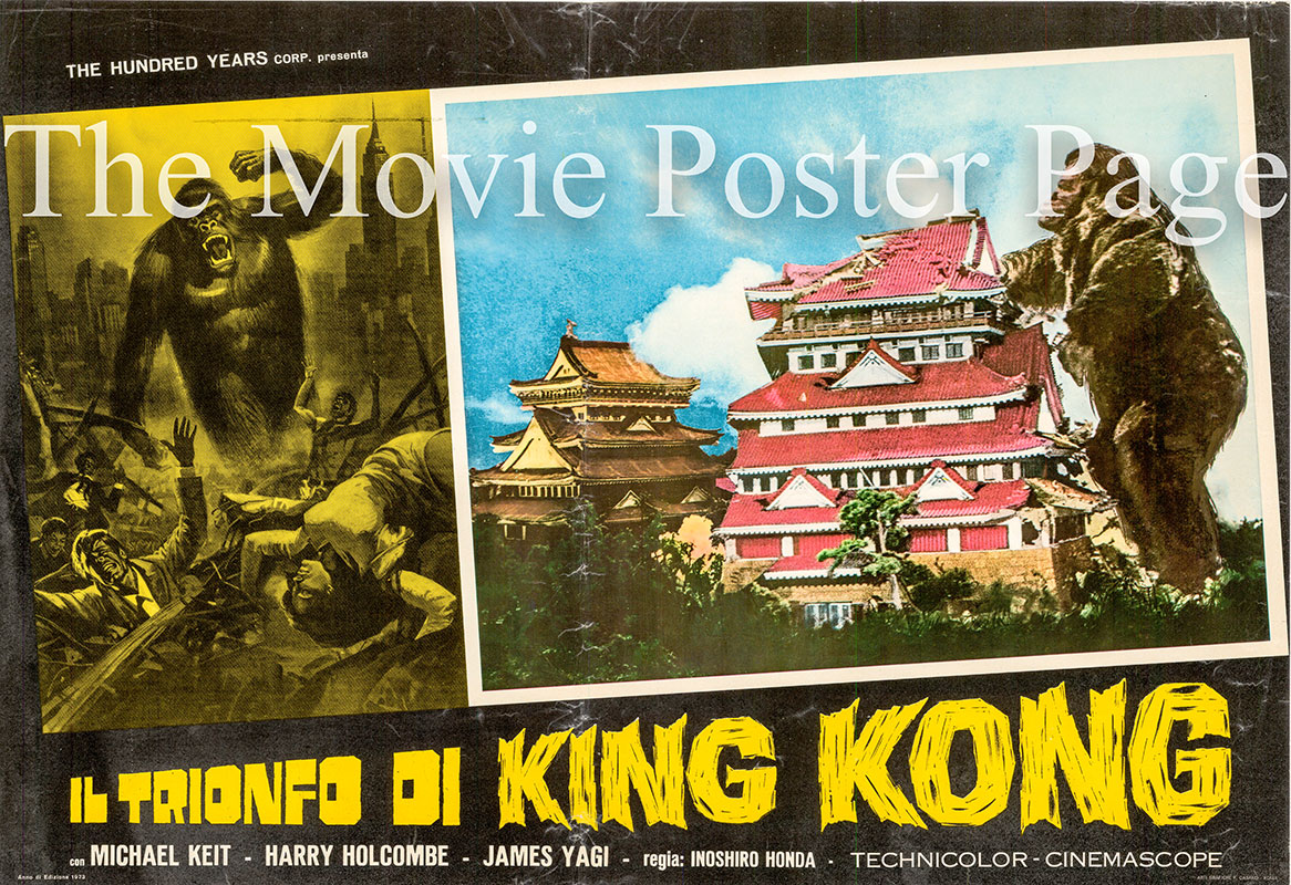 Pictured is an Italian busta poster for a 1973 rerelease of the 1962 Inoshiro Honda film King Kong Vs. Godzilla.