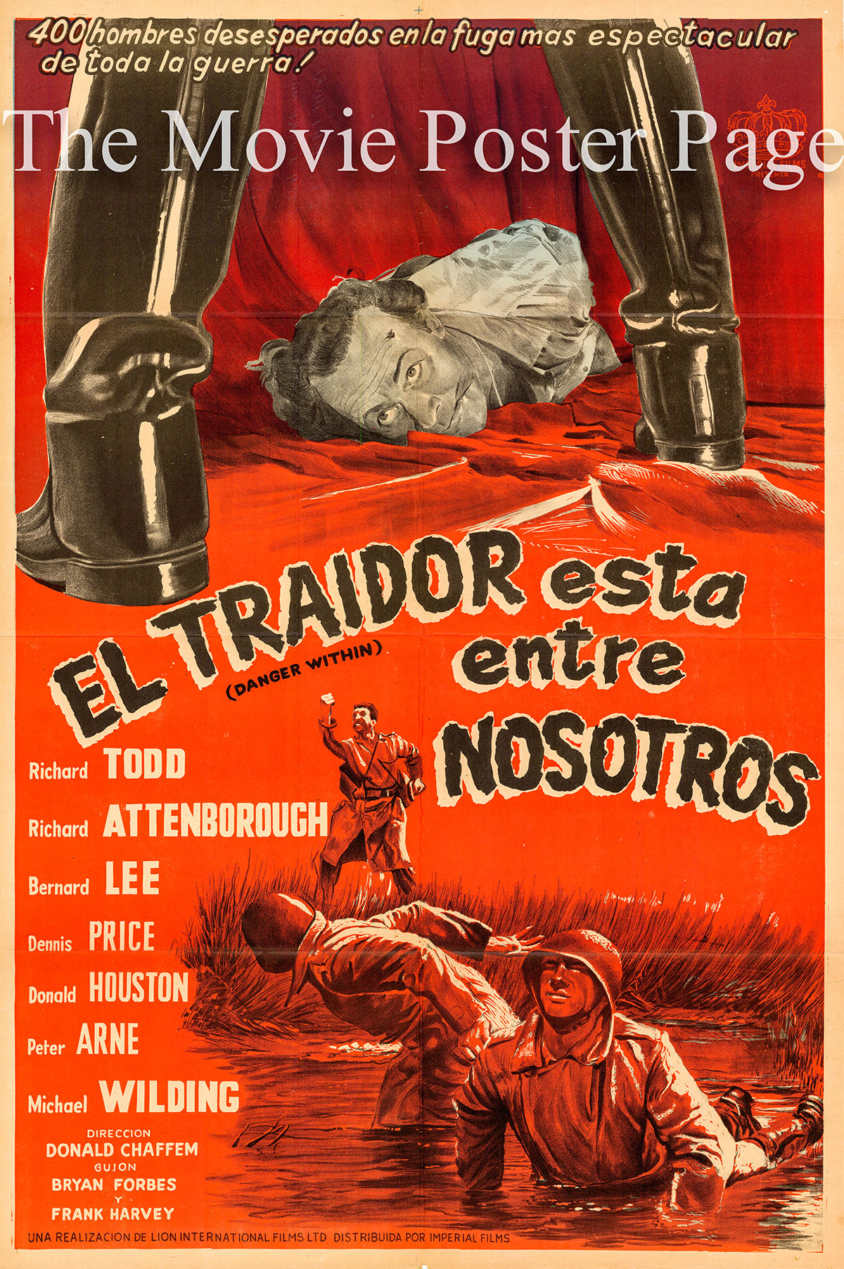 Pictured is an Argentine one-sheet poster forthe 1959 Don Chaffey film Danger Within starring Richard Todd.