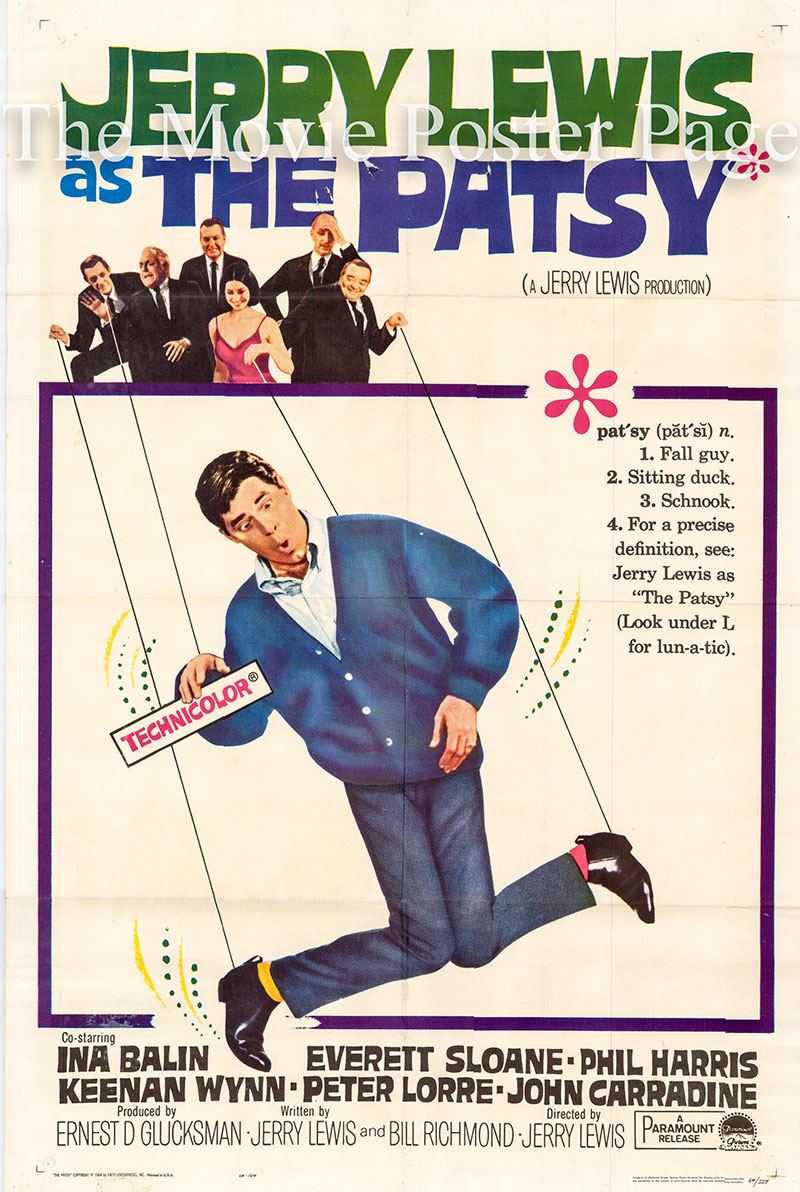 Pictured is a US one-sheet poster for the 1964 Jerry Lewis film The Patsy starring Jerry Lewis as Stanley Belt.