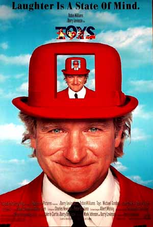 Pictured is a US promotional poster for the 1992 Barry Levinson film Toys starring Robin Williams.