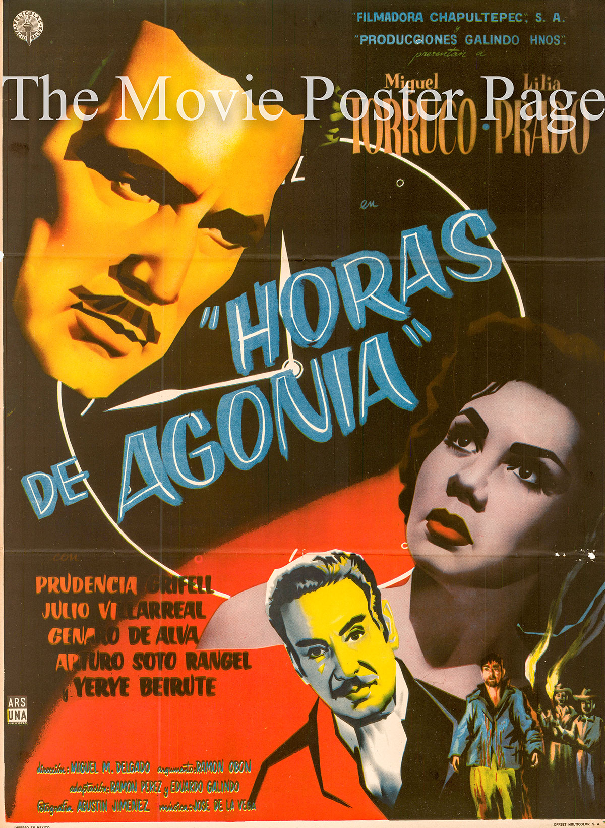 Pictured is a Mexican one-sheet poster for the 1958 Miguel Delgado film Horas de Agonia starring Miguel Torruco.