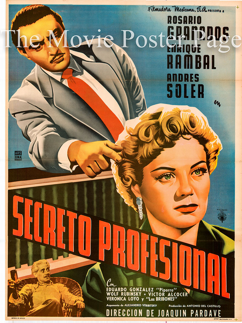 Pictured is a Mexican one-sheet poster for the 1955 Joaquin Pardave film Secreto Professional staring Rosario Granados as Mariana viuda de Peralta.