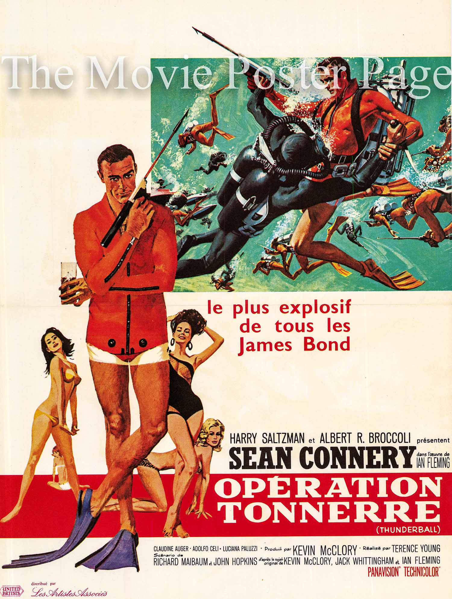 Pictured is a French mini poster made to promote the 1965 Terence Young film Thunderball starring Sean Connery as James Bond.