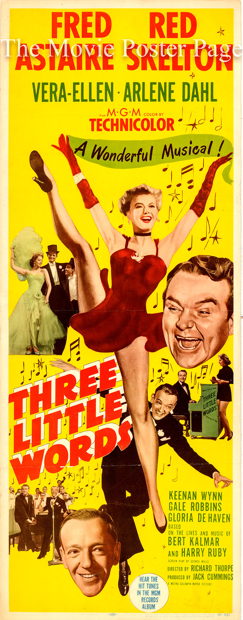 Pictured is a US insert poster for the 1950 Richard Thorpe film Three Little Words starring Fred Astaire as Bert Kalmar.