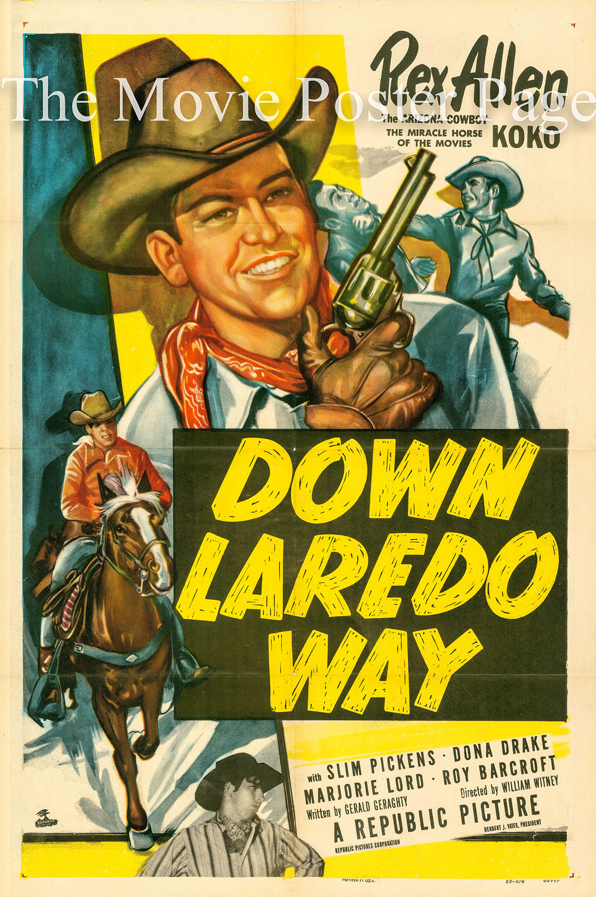 Pictured is a US promotional poster for the 1953 William Witney film Down Laredo Way starring Rex Allen.