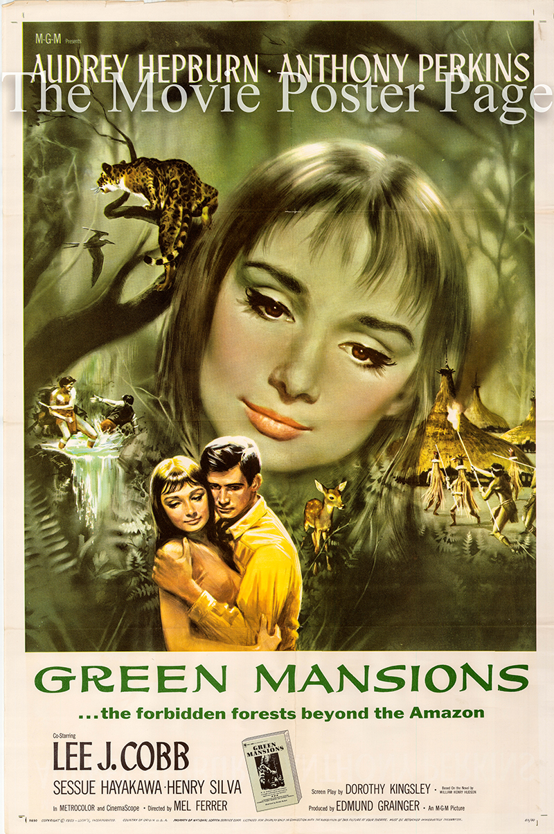 Pictured is a US one-sheet poster for the 1959 Mel Ferrer film Green Mansions starring Audrey Hepburn.