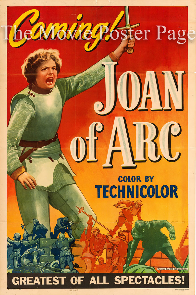 Pictured is a US one-sheet poster for the 1948 Victor Fleming film Joan of Arc starring Ingrid Bergman as Joan.