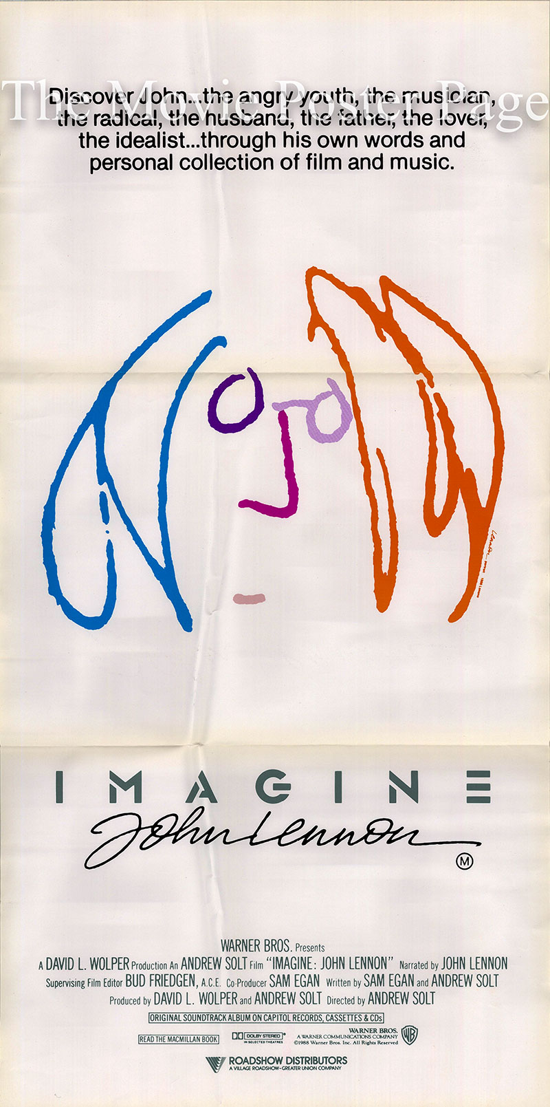 Pictured is an Australian daybill poster for the 1988 Andrew Solt film Imagine starring John Lennon.