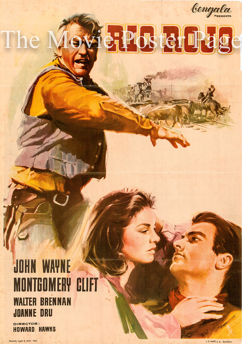 Pictured is a Spanish poster for a 1965 rerelease of the 1948 Howard Hawks film Red River starring John Wayne as Thomas Dunson.