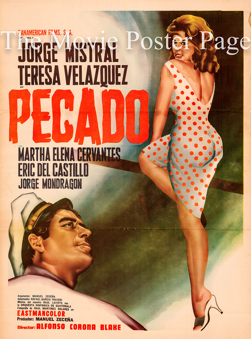 Pictured is a Mexican one-sheet poster for the 1962 Alfonso Corona Blake film Pecado starring Jorge Mistral.
