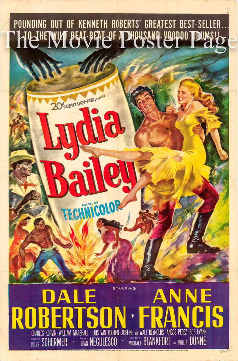 Pictured is a US one-sheet poster for the 1952 Jean Negulesco film Lydia Bailey starring Dale Robertson as Albion Hamlin and Anne Francis as Lydia Bailey.
