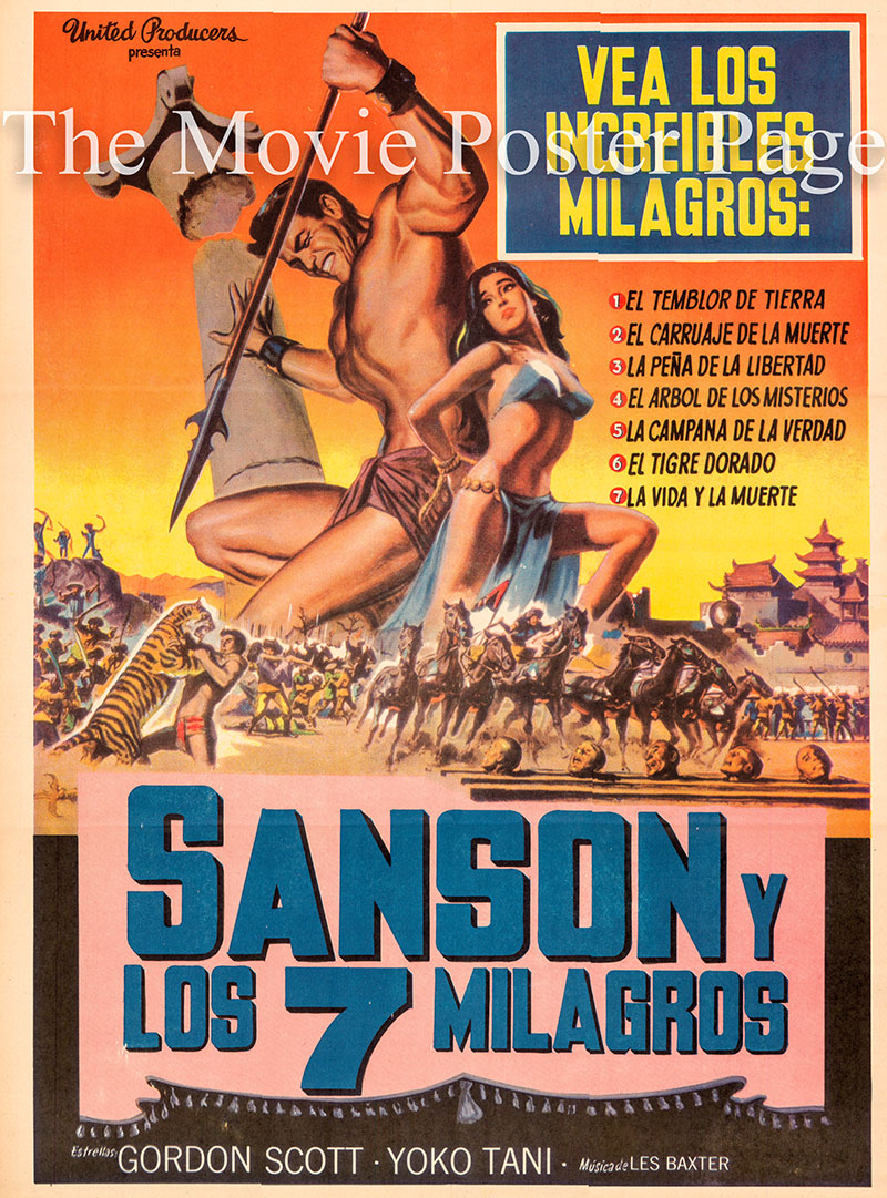 Pictured is a Mexican one-sheet poster for the 1961 Riccardo Freda film Samson and the Seven Miracles of the World starring Gordon Scott as Samson.