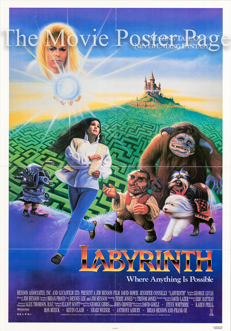 Pictured is a US one-sheet poster for the 1986 Jim Henson film Labyrinth starring David Bowie.
