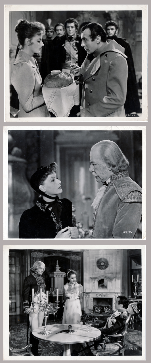 Pictured are three US promotional still photos from the 1937 Clarence Brown film Conquest starring Greta Garbo.
