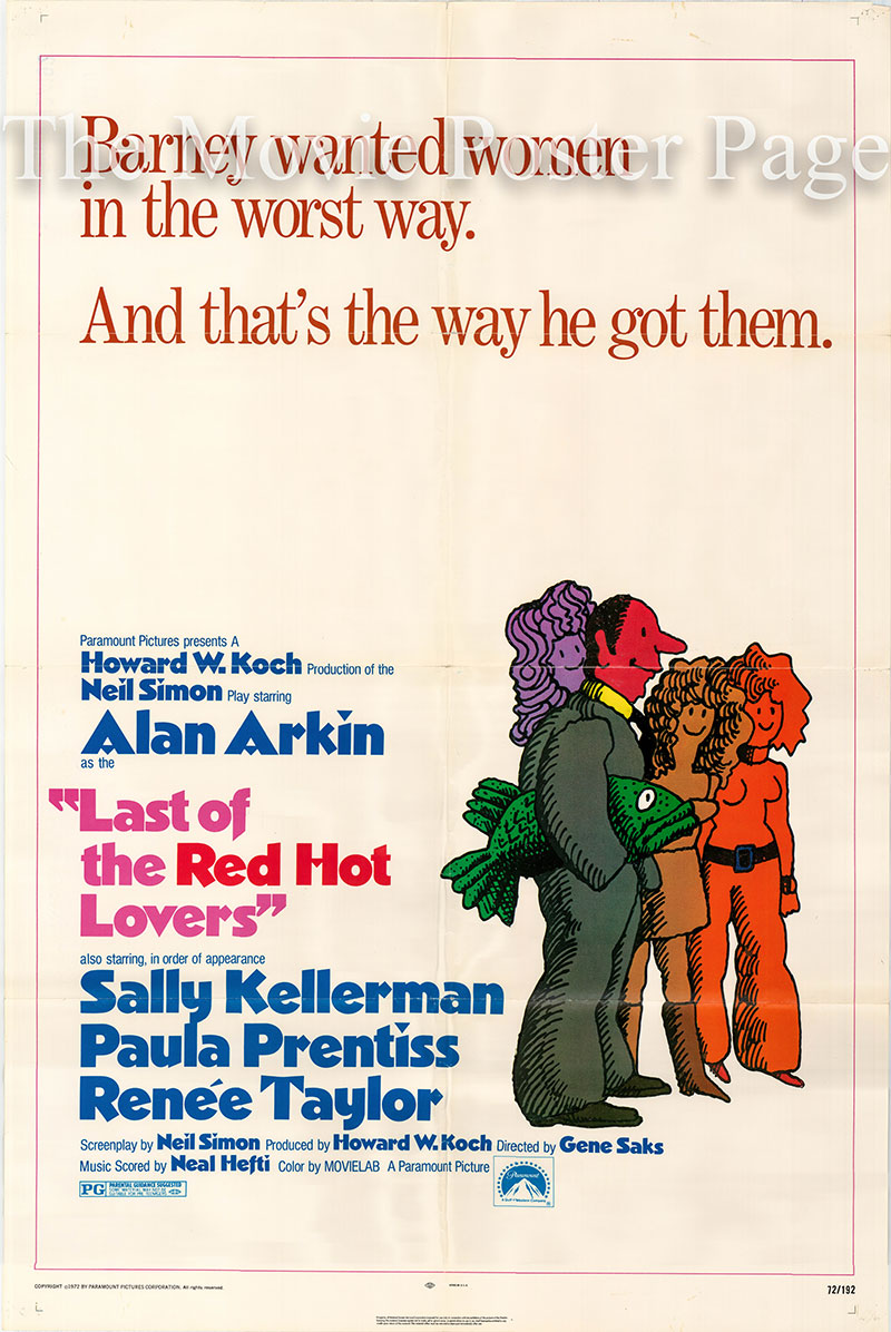 Pictured is a US one-sheet poster for the 1972 Gene Saks film Last of the Red Hot Lovers starring Alan Arkin as Barney Cashman.