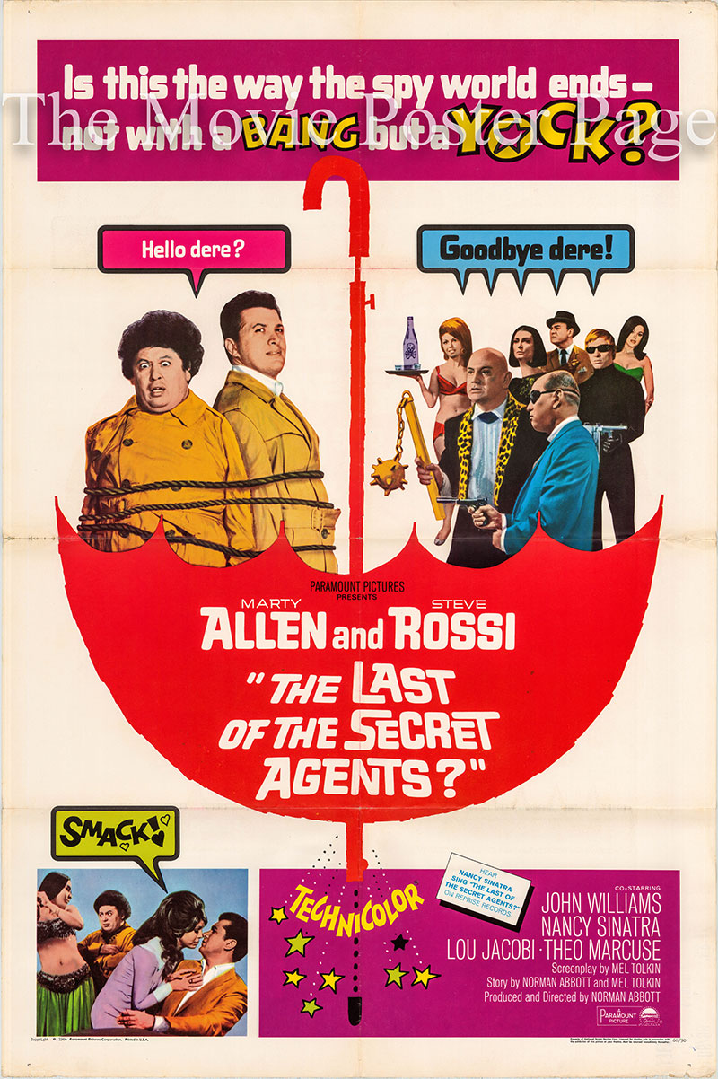 Pictured is a US one-sheet poster for the 1966 Norman Abbott film The Last of the Secret Agents starring Marty Allen.