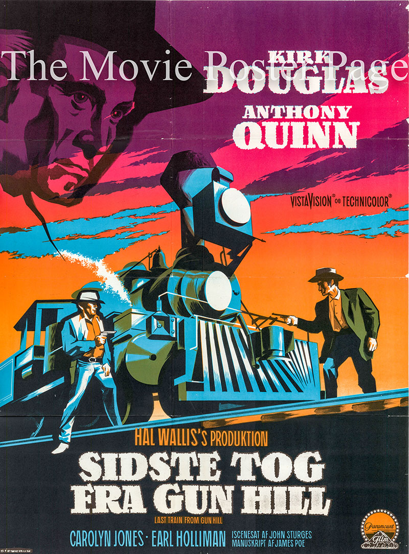 Pictured is a Danish one-sheet for the 1959 John Sturges film Last Train from Gun Hill starring Kirk Douglas.