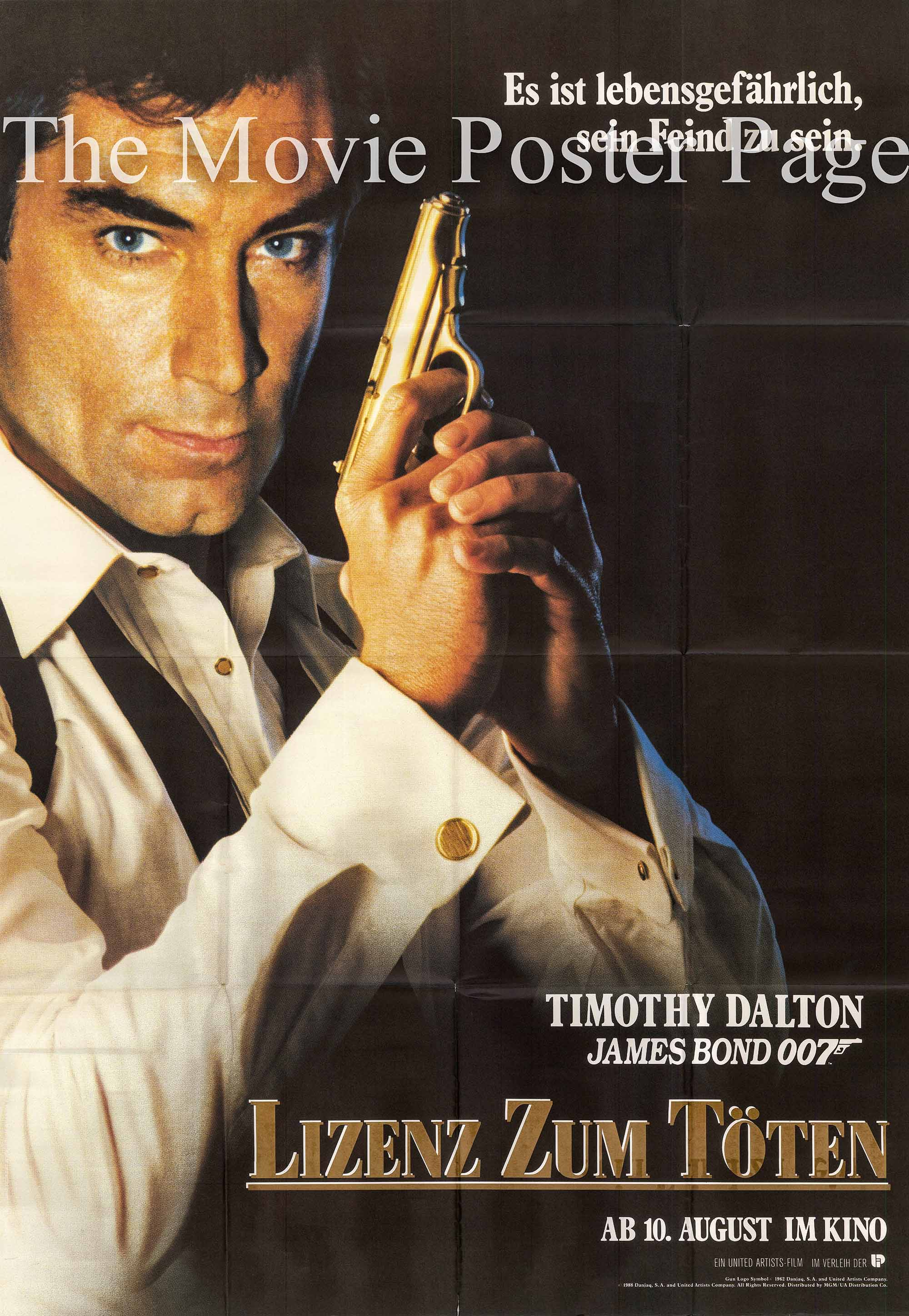 Pictured is a German two-sheet promotional poster for the 1989 John Glen film License to Kill starring Timothy Dalton as James Bond.