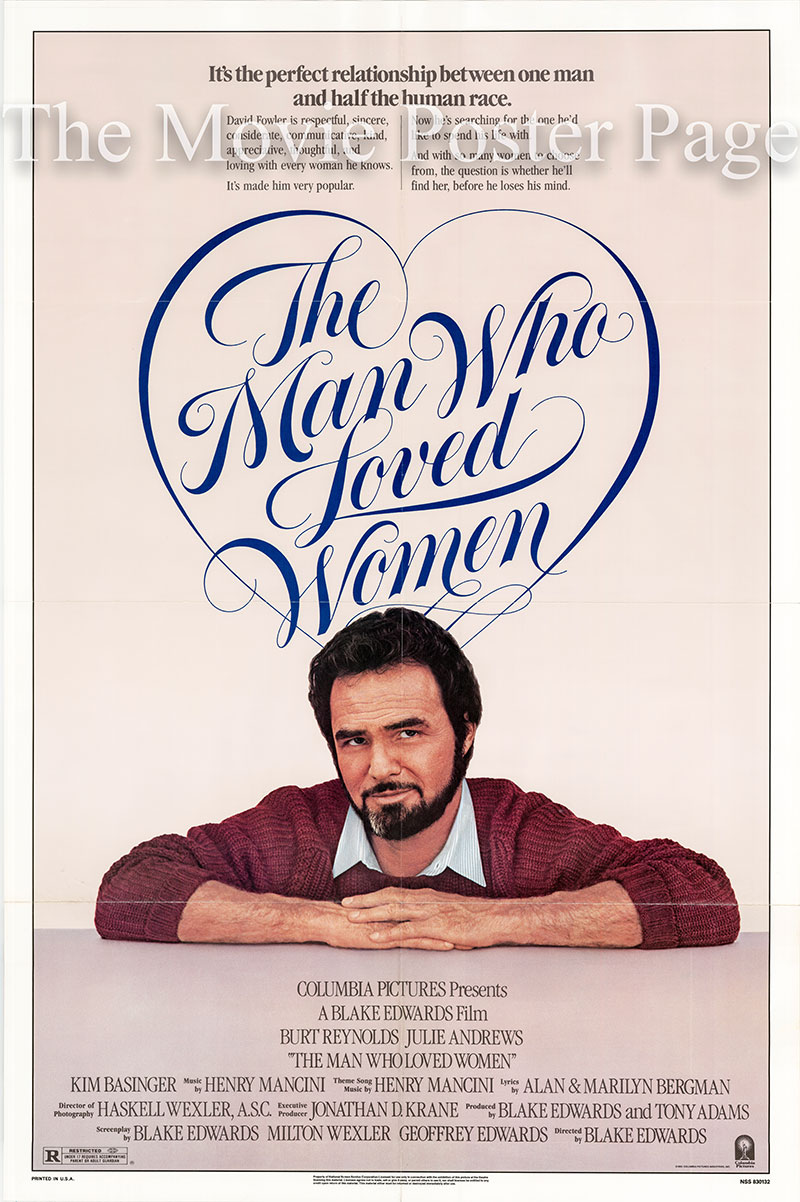 Pictured is a US one-sheet poster for the 1983 Blake Edwards film The Man Who Loved Women starring Burt Reynolds.