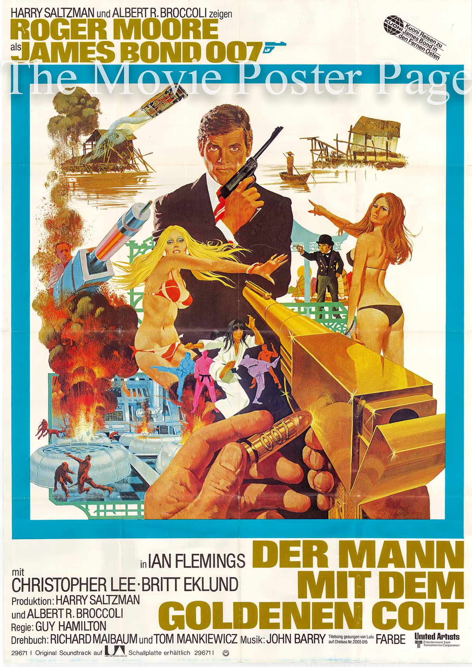 This is a German two-sheet promotional poster made to promote the 1974 Guy Hamilton film The Man with the Golden Gun starring Roger Moore as James Bond.