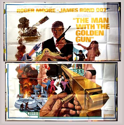 Pictured is a US six-sheet promotional poster for the 1974 Guy Hamilton film The Man with the Golden Gun starring Roger Moore and Christopher Lee.