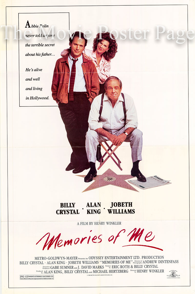 Pictured is a US one-sheet poster for the 1988 Henry Winkler film Memories of Me starring Billy Crystal.