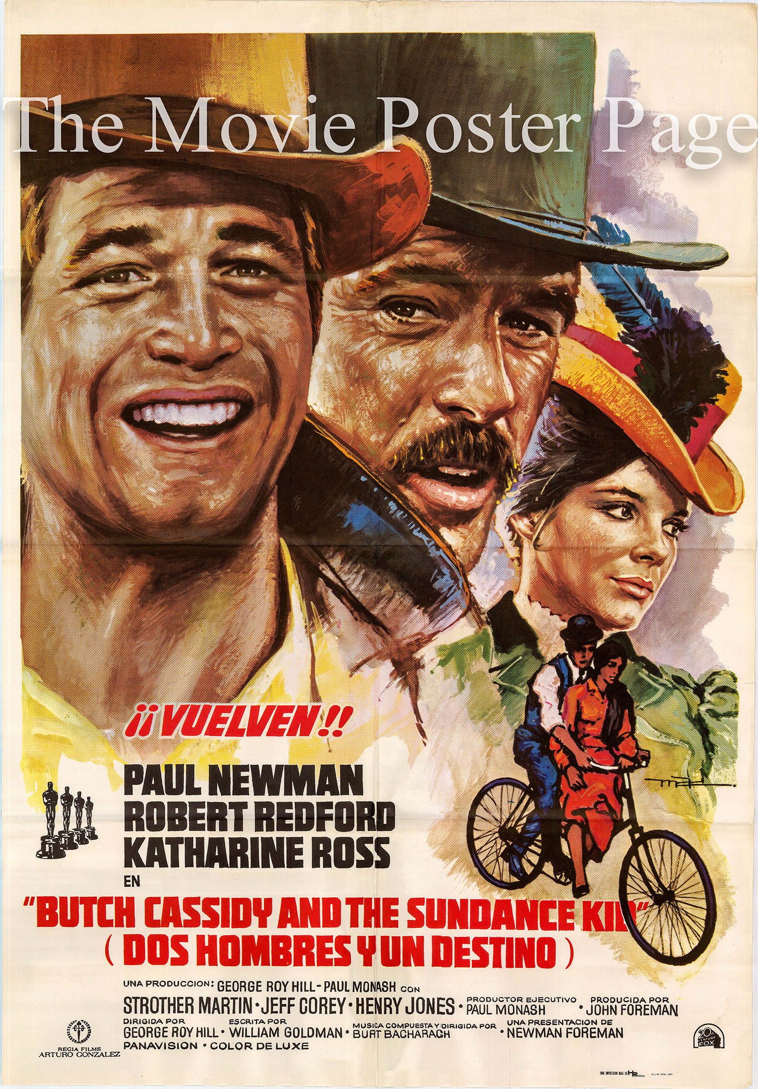 Pictured is a Spanish one-sheet poster for a 1977 rerelease of the 1969 George Roy Hill film Butch Cassidy and the Sundance Kid.