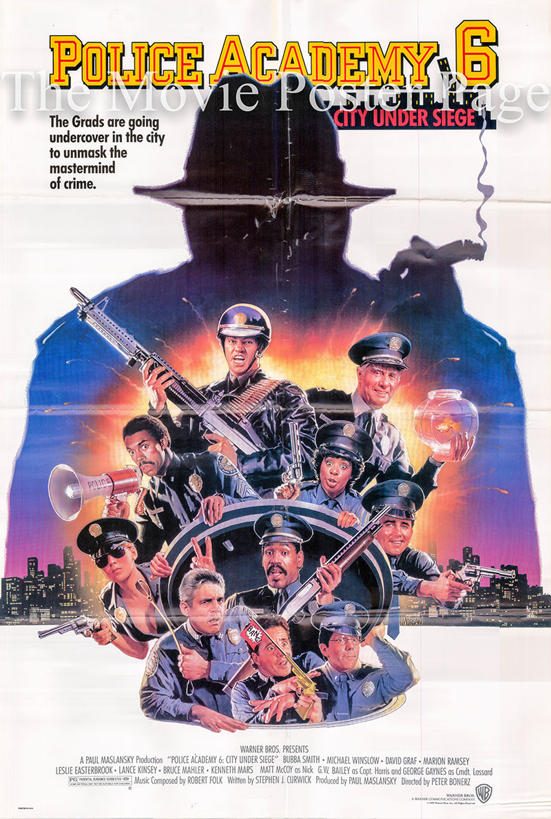 Pictured is a US one-sheet poster for the 1989 Peter Bonerz film Police Academy 6 starring Bubba Smith as Hightower.