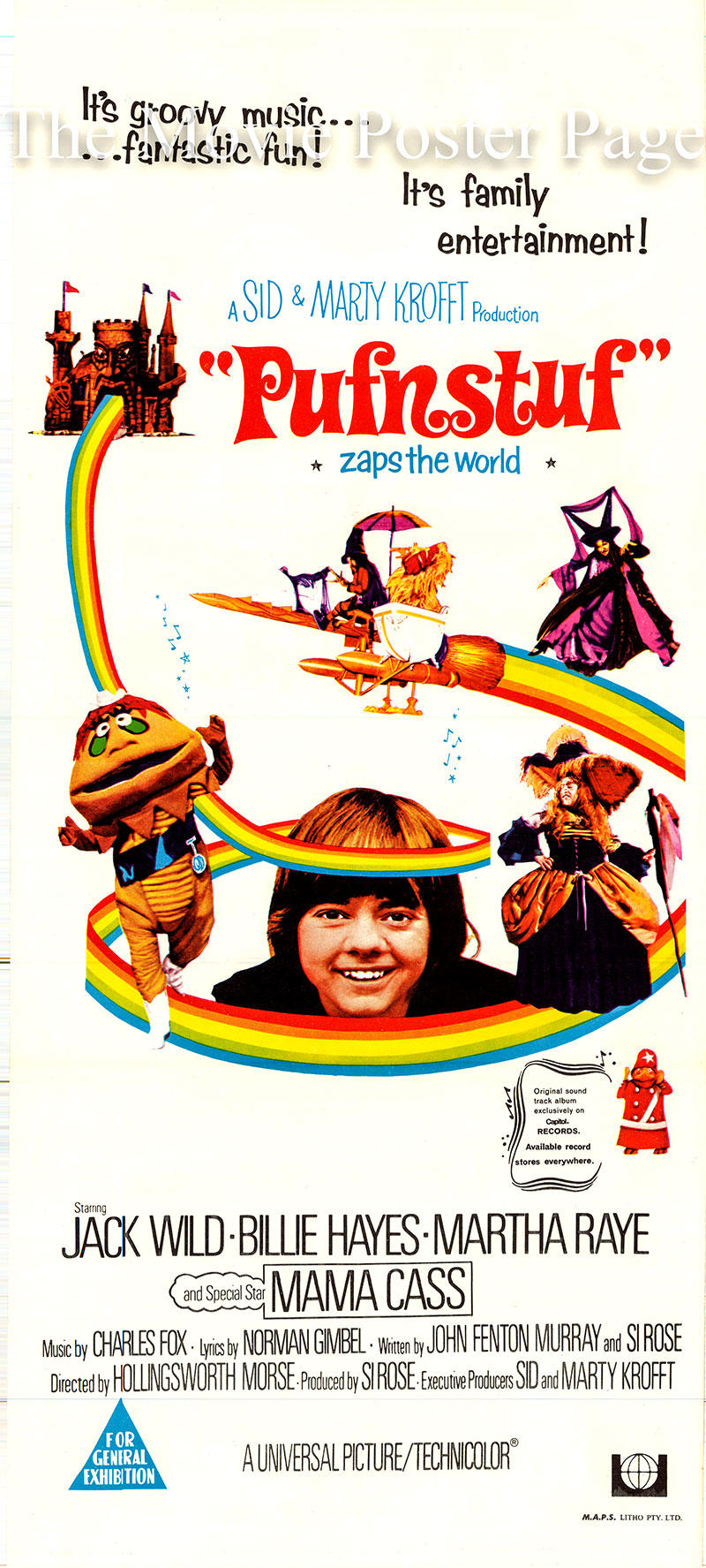 Pictured is an Australian day bill poster for the 1970 Hollingsworth Morse film Pufnstuf written by John Fenton Murray and Si Rose and starring Jack Wild as Jimmy.