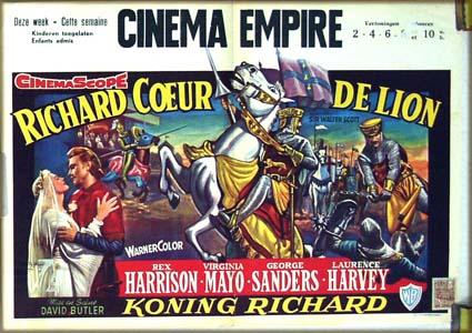 Pictured is a Belgian promotional poster for the 1954 David Butler film King Richard and the Crusaders starring Rex Harrison and Virginia Mayo.