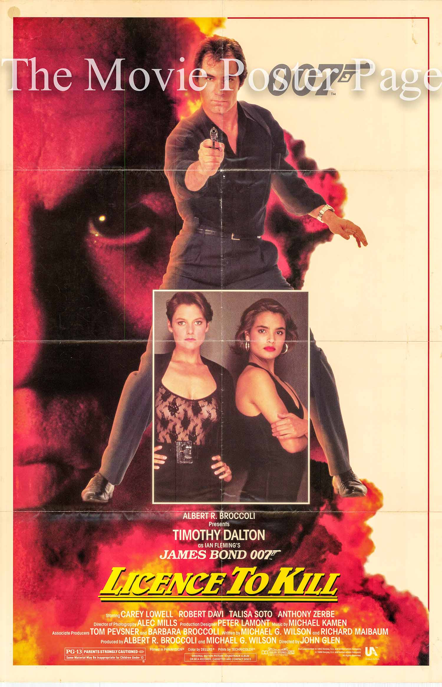 Pictured is a US one-sheet promotional poster made to promote the 1989 John Glen film License to Kill starring Timothy Dalton as James Bond.