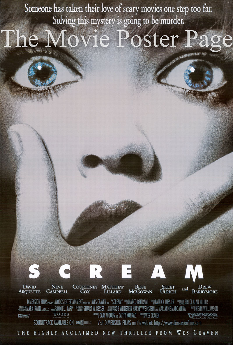 Pictured is a US one-sheet poster for the 1996 Wes Craven film Scream starring Neve Campbell.