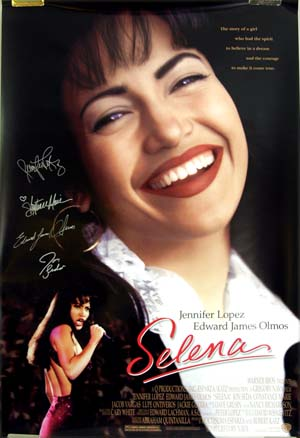 This is a picture of the one-sheet poster for the 1996 film <i>Selena</i>, starring Jennifer Lopez.