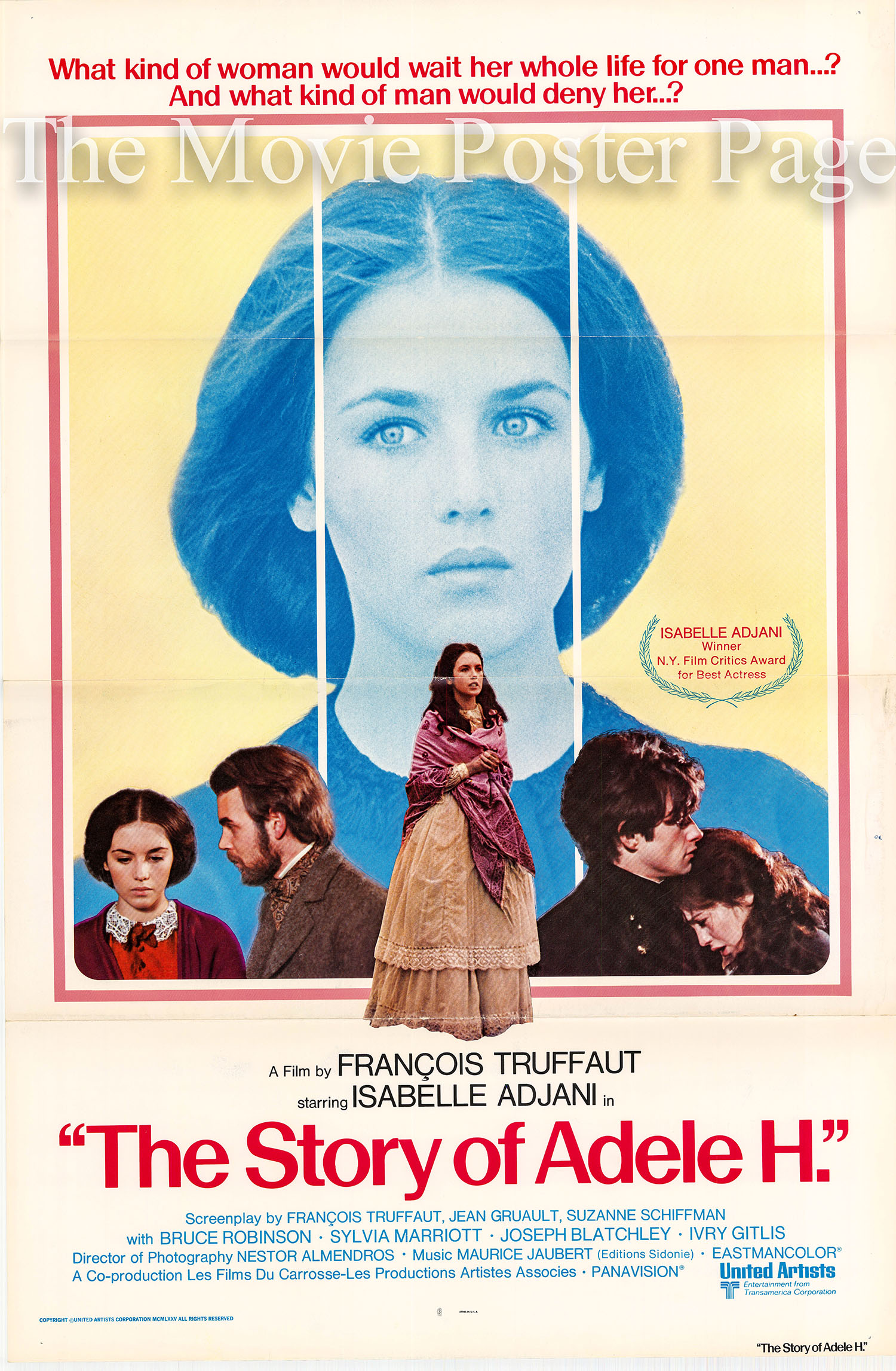 Pictured is a US promotional poster made for the 1975 Francoise Truffaut film The Story of Adele H starring Isabelle adjani as Adele Hugo.