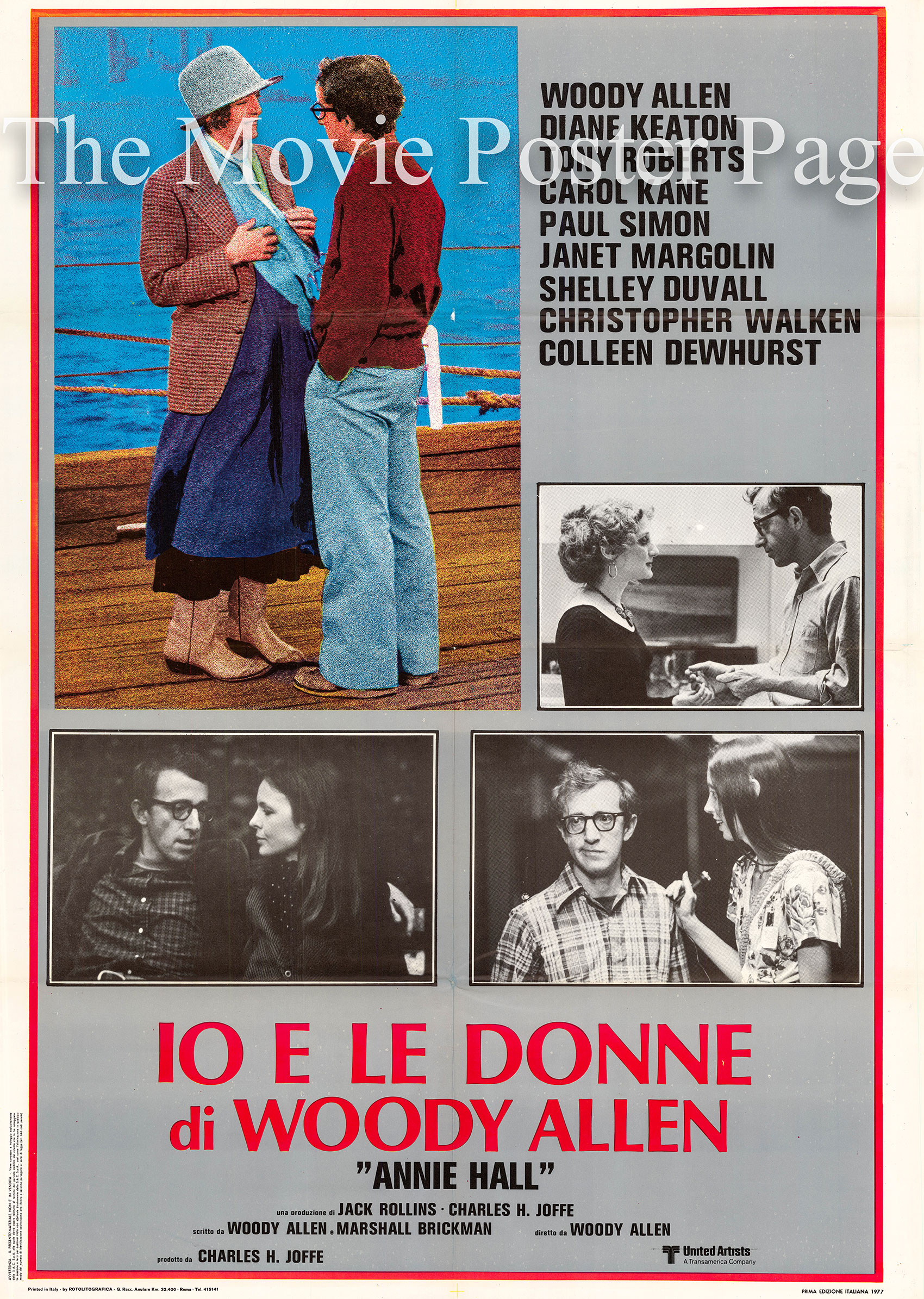 Pictured is an Italian two-sheet promotional poster for the 1977 Woody Allen film Annie Hall starring Woody Alen as Alvy Singer and Diane Keaton as Annie Hall.