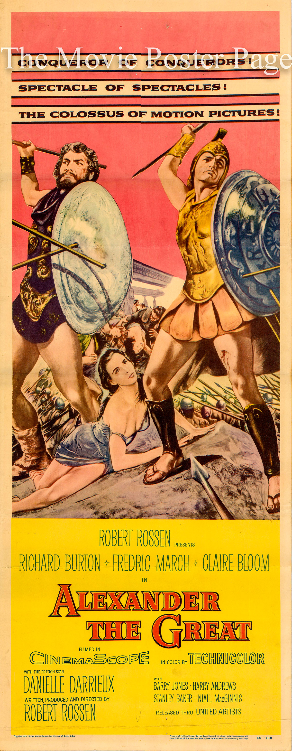 Pictured is a US one-sheet promotional poster for the 1956 Roberto Rossen film Alexander the Great starring Richard Burton.