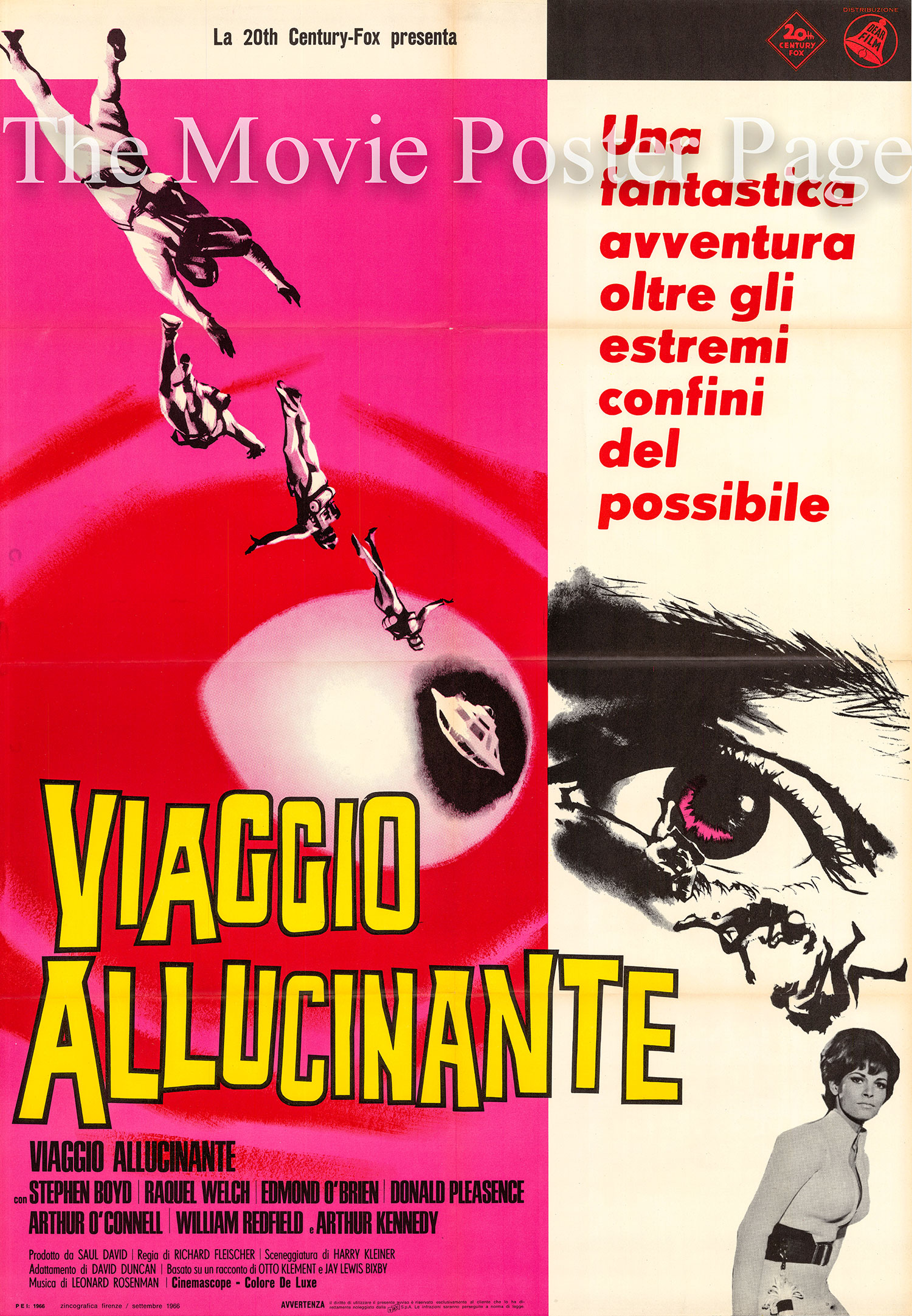 Pictured is an Italian two-sheet promotional poster for the 1966 Richard Fleischer film Fantastic Voyage starring Raquel Welch.