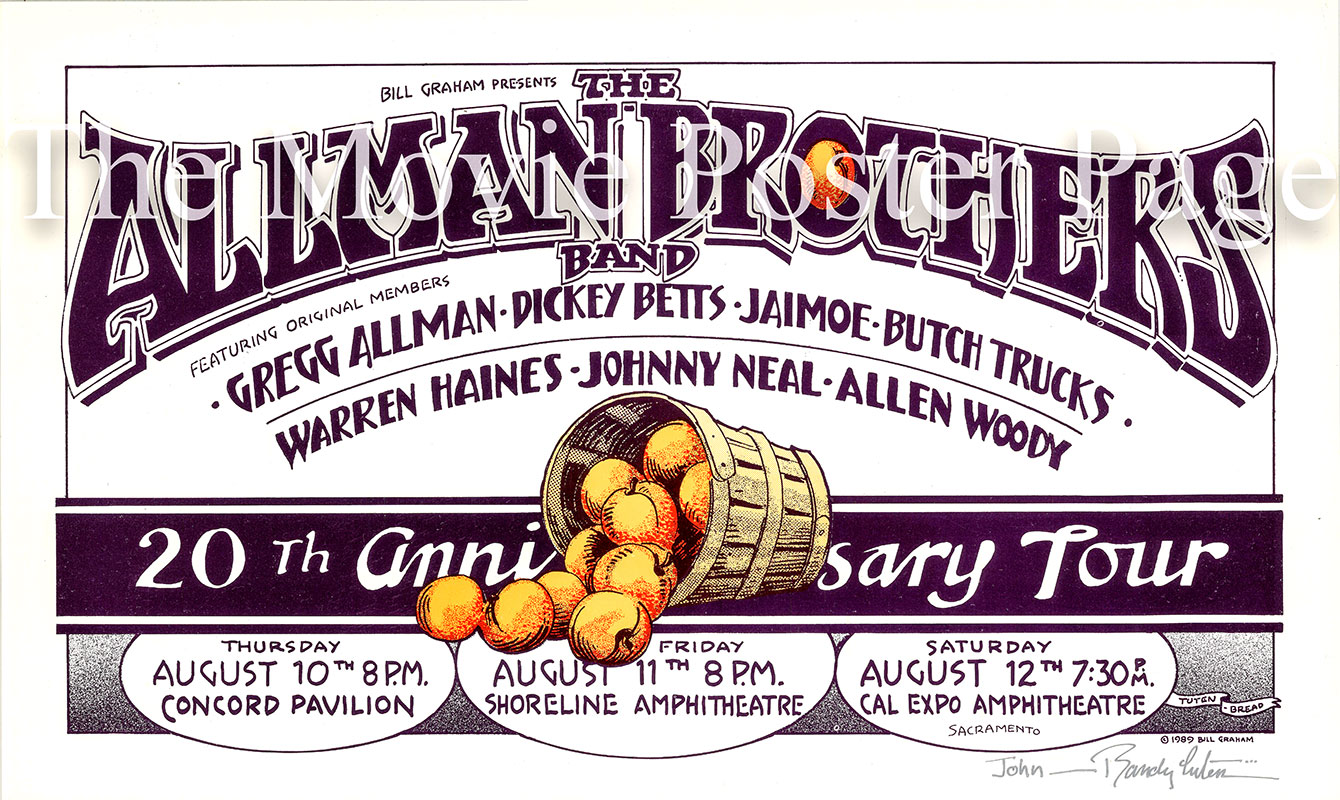 Pictured is a US promotional poster for the the 1989 Allman Brothers Band 20th Anniversary Tour.