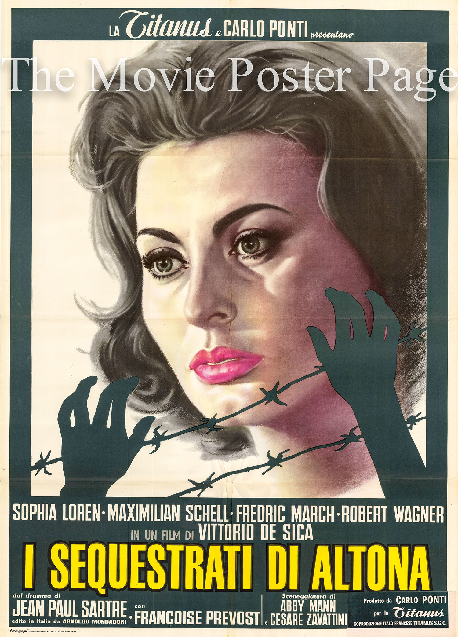 Pictured is an Italian two-sheet poster for the 1963 Vittorio De Sica film The Condemned of Altona, starring Sophia Loren.