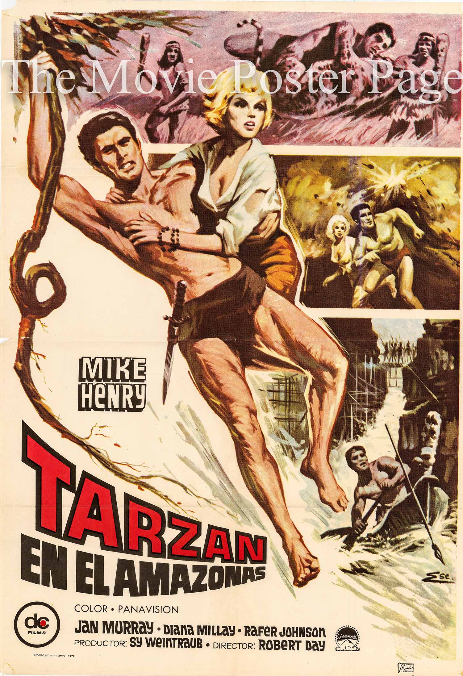Pictured is a Spanish promotional poster for the 1967 Roberd Day film Tarzan and the Great River starring Mike Henry.