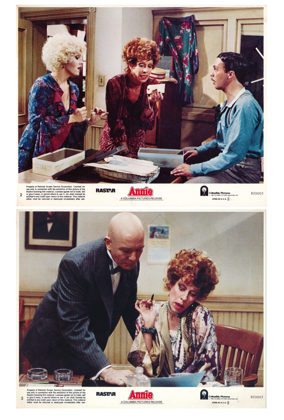 Pictured are 2 8x20 color lobby cards for the 1982 John Huston film Annie starring Albert Finney and Carol Burnett.