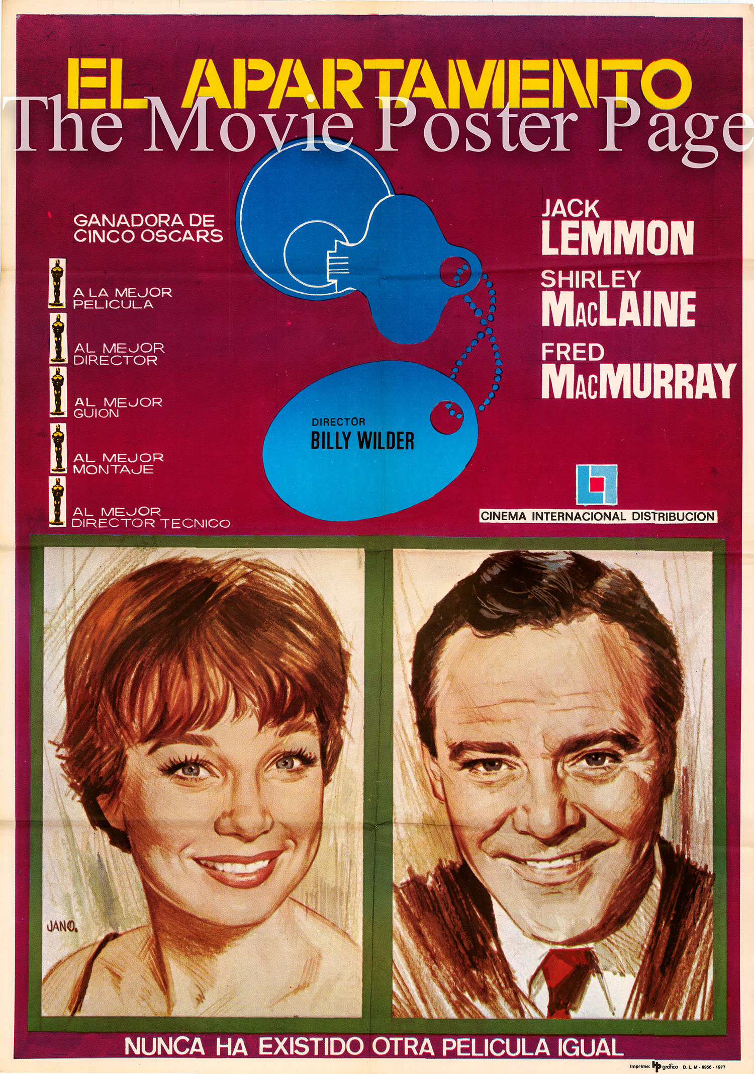 Pictured is a 1977 Spanish rerelease poster for the 1960 Billy Wilder film The Apartment starring Jack Lemmon.