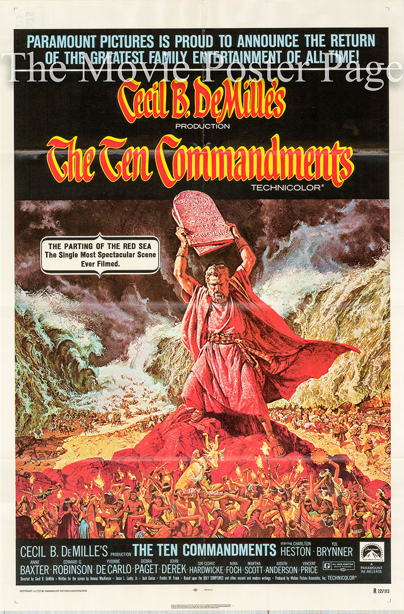 Pictured is a US one-sheet poster for a 1972 rerelease of the 1956 Cecil B. DeMille film The Ten Commandments starring Charlton Heston as Moses.