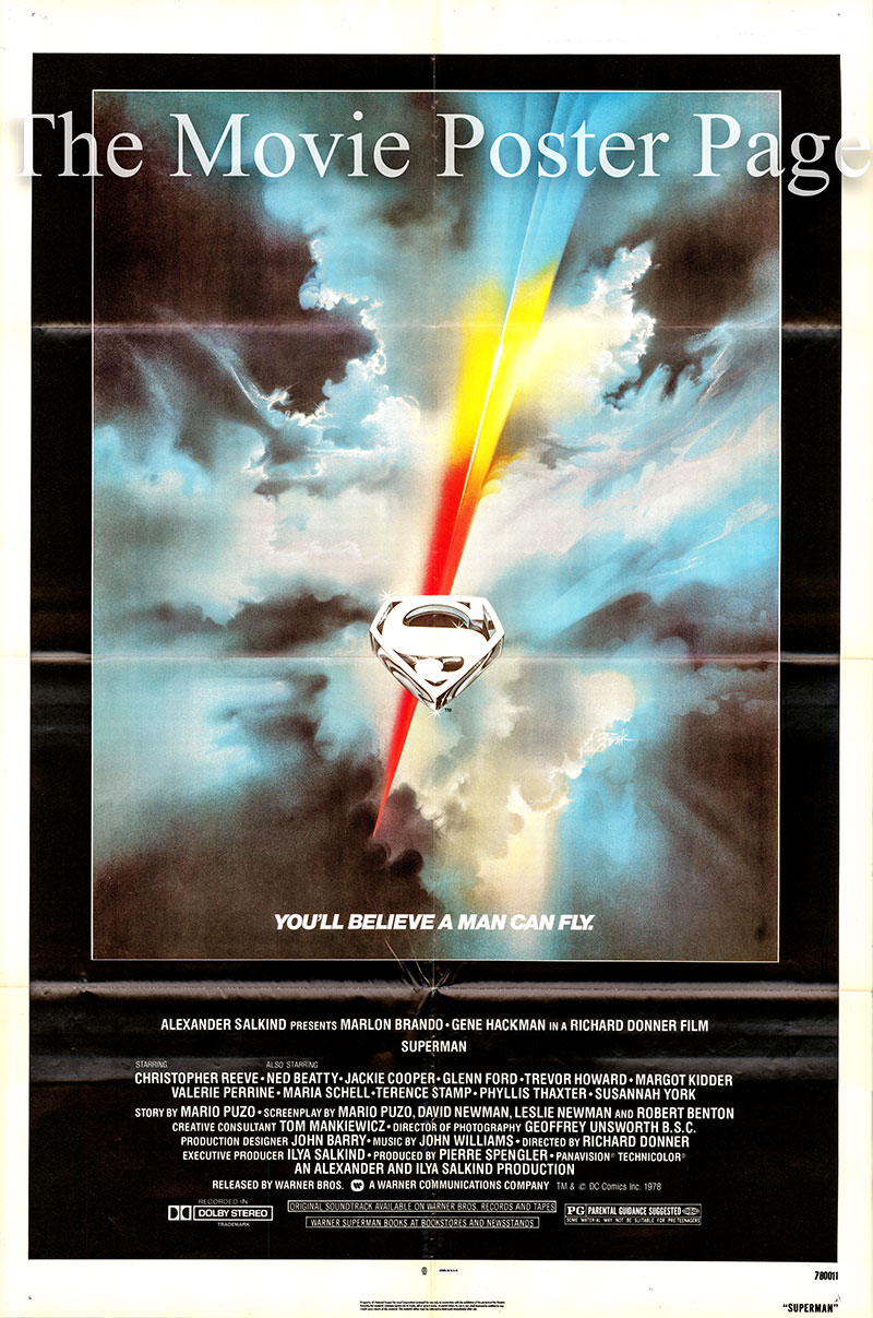 Pictured is a US one-sheet poster for the 1978 Richard Donner film Superman starring Christopher Reeve as Superman.