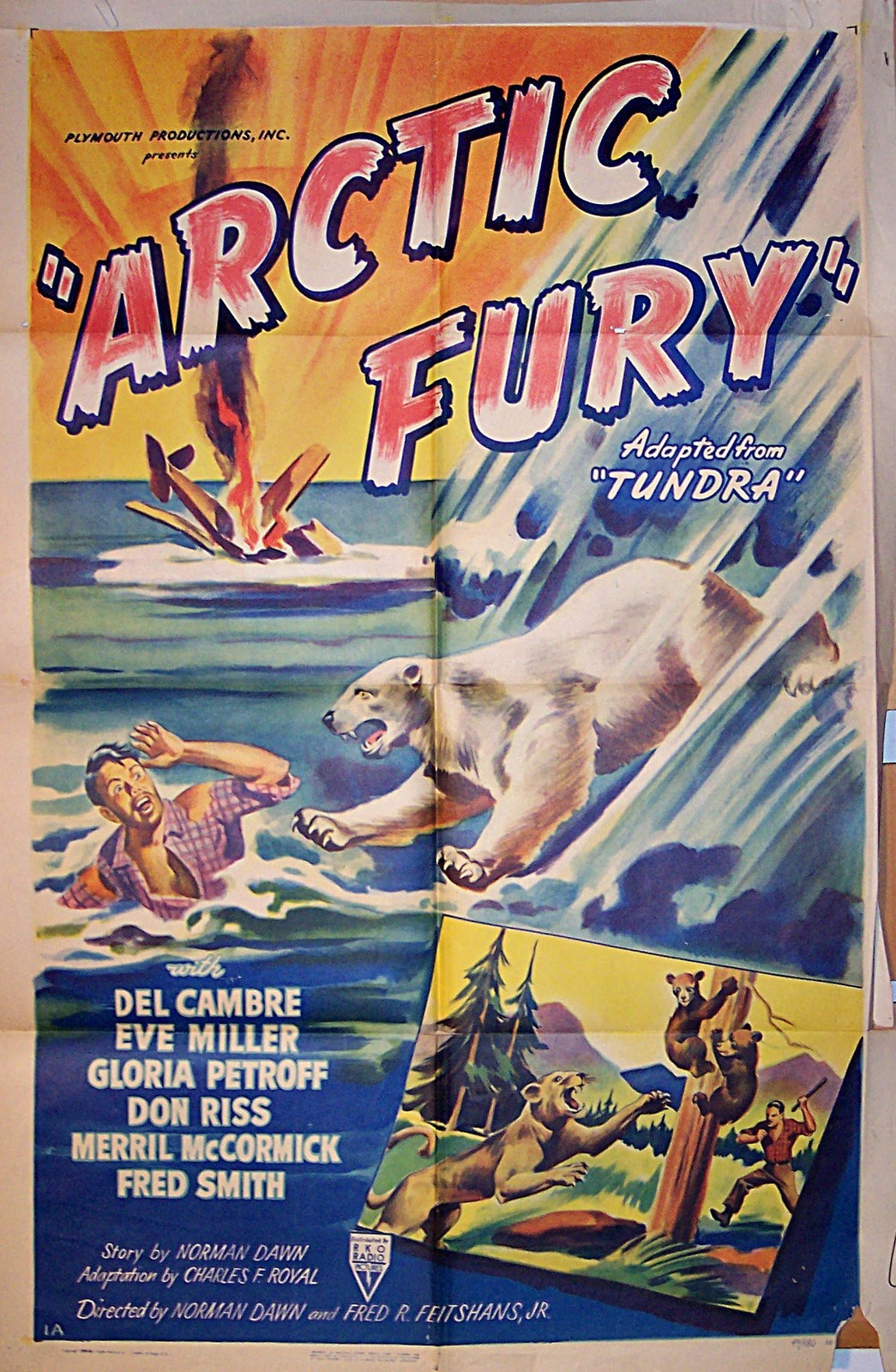 Pictured is a US one-sheet promotional poster for the 1949 Norman Dawn film Arctic Fury starring Alfred Delcambre.