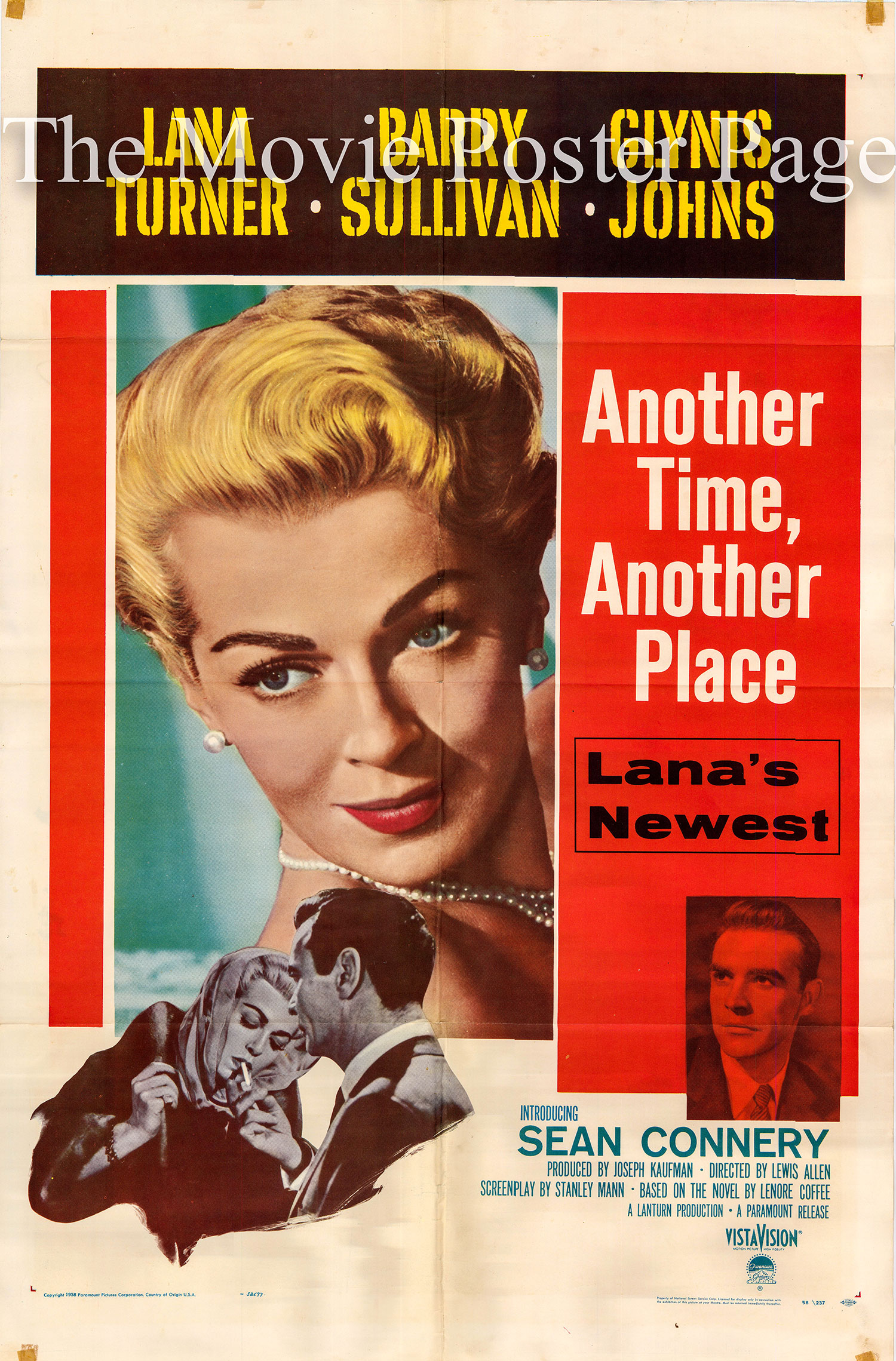 Pictured is a US one-sheet promotional poster for the 1958 Lews Allen film Another Time Another Place starring Lana Turner and Sean Connery.