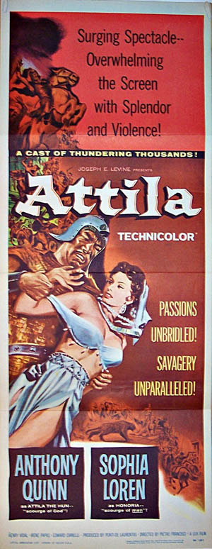 Pictured is a US insert promotional poster for the 1954 Pietro Francisci film Attila starring Anthony Quinn and Sophia Loren.