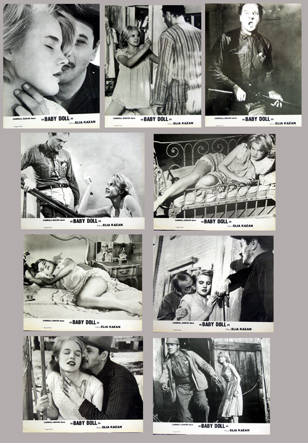 Pictured are nine French lobby cards for a 1960s rerelease of the Elia Kazan film Baby Doll starring Carroll Baker, Eli Wallach and Karl Malden.