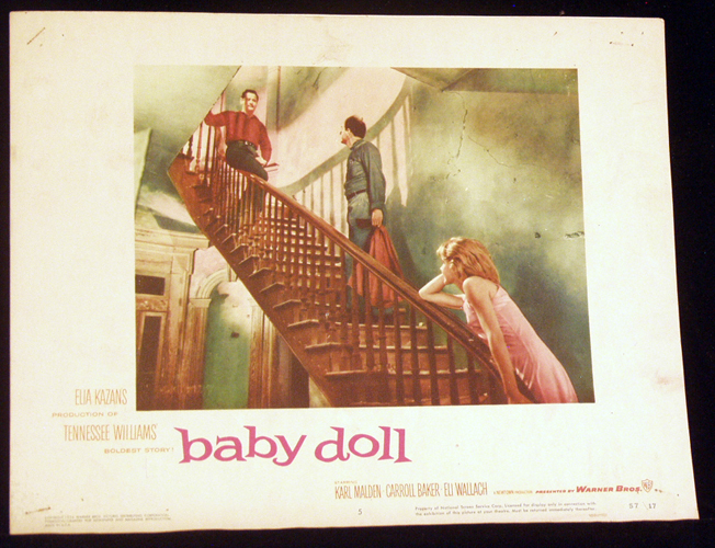 Pictured is a US lobby card for the 1957 Elia Kazan film Baby Doll starring Carroll Baker, Eli Wallach and Karl Malden.